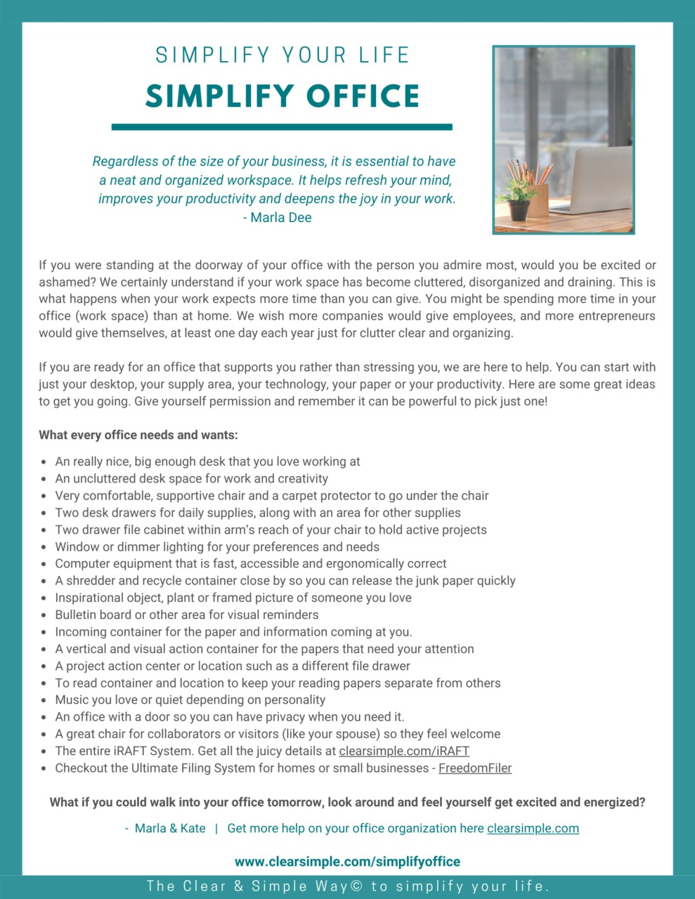 Clear & Simple, Simplify Your Life, Simplify Your Office, Marla Dee, Kate Fehr