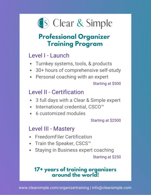 Clear & Simple, Professional Organizer Training Program, Marla Dee, Kate Fehr