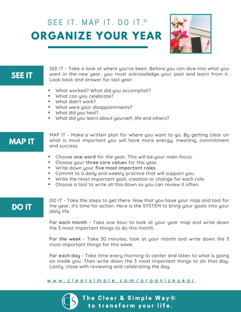 Organize Your Year See it. Map it. Do it. Clear & Simple Steps